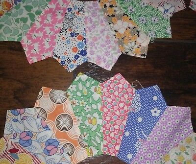 Vtg Old Lot 12 DRESDEN PLATE Calico Quilt Squares FEEDSACK Fabric Block Pieces-2