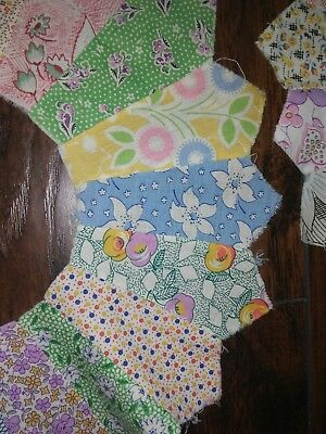 Vtg Old Lot 12 DRESDEN PLATE Calico Quilt Squares FEEDSACK Fabric Block Pieces-1