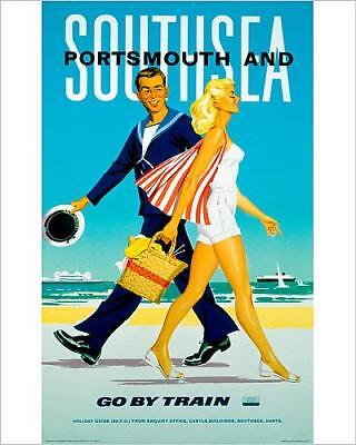 """10""""x8"""" (25x20cm) Print of 'Southsea and Portsmouth', BR poster, 1962."""