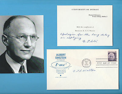 Ernest TS Walton (Nobel Prize Physics 1951) Signed 1966 Einstein First Day Cover