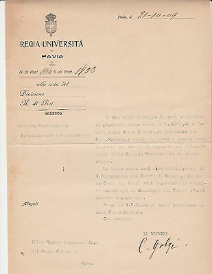 Camillo Golgi (Nobel Prize Medicine 1906) Typed Document Signed 10/21/1909
