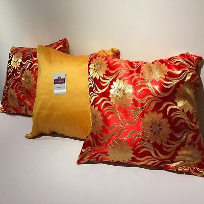 "Red & gold floral Metallic brocade with Raw Silk Backing Cushion Cover 18"" x 18"""