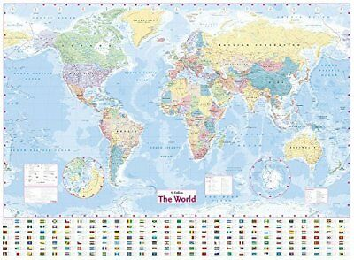Collins World Wall Laminated Map by Collins Maps New Sheet map  flat Book