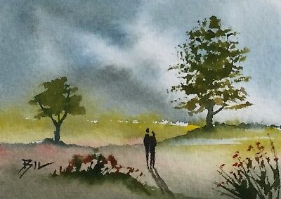 ACEO Original Art Watercolour Painting by Bill Lupton - Country Walk