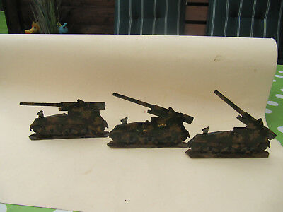 3 Panzer-Pappe Holz -Papier-11,5 cm lang- 1 Panzer Division- Kanonen beweglich