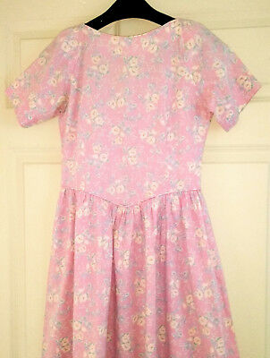 Laura Ashley Genuine Vintage 40's Floral Tea Dress Pink Blue Rose Pretty8/10/12
