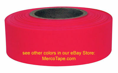 Plastic GLOW RED Flagging Tape - full case of 144 rolls! - Merco Tape M219