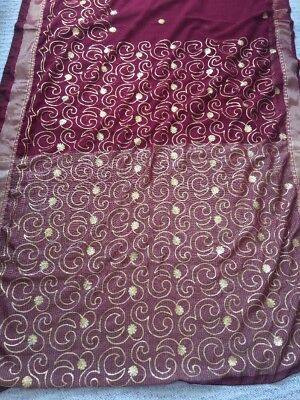 Maroon And Gold Embroidered Sari New With Blouse