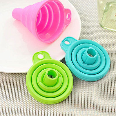 Cool!! Mini AD Silicone Gel Practical IC Funnel Green Collapsible Kitchen Tool
