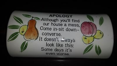 Rare!  Retro Vintage Wall Pocket - Apology Ceramic Rolling Pin - Japan