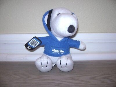 """New MetLife Promo Tech Snoopy Stuffed Promotional Toy 6"""" Sitting 2013 Plush"""
