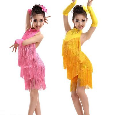 Child Kids Girls Tassel Ballroom Salsa Dance Costume Latin Dancewear Party Dress