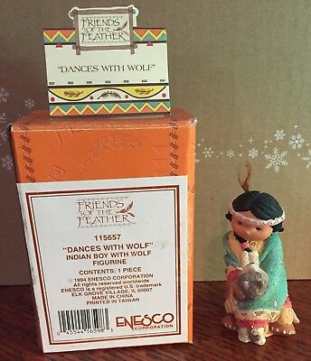 FRIENDS OF THE FEATHER ~ DANCES WITH WOLF ~ Thanksgiving Figurine Boy ENESCO