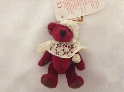 "3"" Burgundy Coloured Fully Jointed Russ Bear - Ideal For Dolls House"