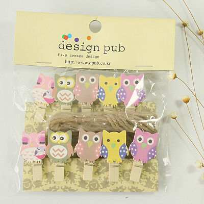 10 Pcs Catoon Owl Photo Clips Peg Wooden Kids Mini Clips With Rope Party Supply