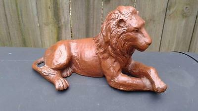 "Vintage Red Mill Mfg Lion with Mane Figurine Pecan 8 1/4"" Long"