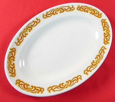 W H Grindley Caravelle Small Oval Platter Hotel Restaurant Ware Gold Scrolls 8x5