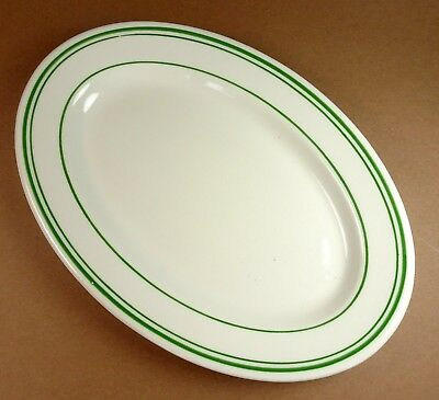 Green Lines Stripes Oval Serving Platter Restaurant Ware 10 x 7 Vitrified China