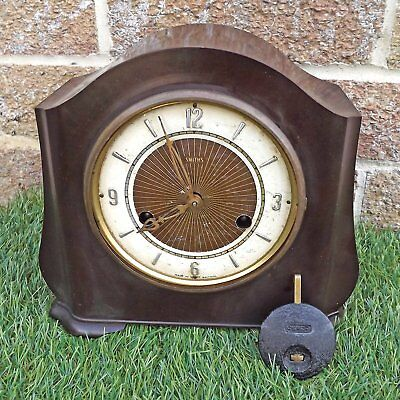 Smiths Enfield Bakelite Art Deco 8-Day Striking Mantel Clock - Spares Or Repair