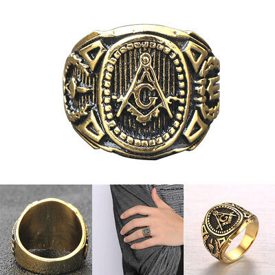 Men Accessories Punk Band Masonic Ring Freemasons Stainless Steel Rings Gold