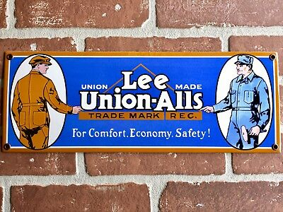 "LEE UNION-ALLS TEXTILE Coveralls PORCELAIN DOOR PUSH BAR SIGN. BUY IT NOW.15""x6"""