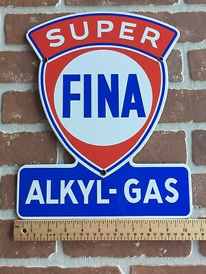 FINA SUPER ALKYL-GAS PORCELAIN DIECUT ADVERTISING PUMP PLATE SIGN 😎 SHEILD Sign