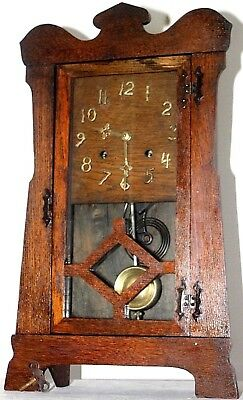 Antique Running New Haven Large Oak Arts & Crafts Mission Wall Or Mantel Clock