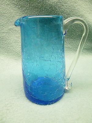 Vintage Blue Crackle Glass Pitcher Miniature Hand Blown Handle