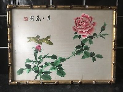 Chinese Silk Embroidery In Wooden Faux Bamboo Frame