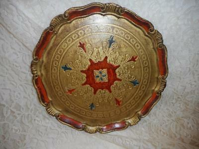 Vtg Large Round Florentine  Italy Tray Gold Red Blue  13""