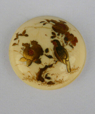 Antique Japanese Meiji era button with lacquered bird & pomegranates- Beautiful.