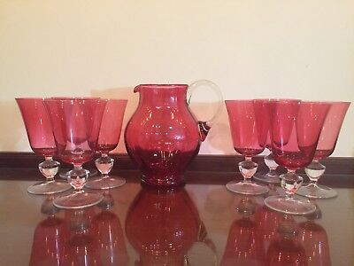 Antique Victorian Cranberry Glass Pitcher and 8 Glasses