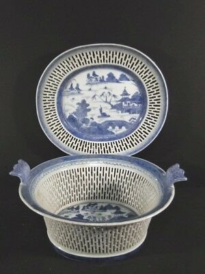 Antique Chinese Export Canton Porcelain Pierced Reticulated Fruit BASKET & PLATE