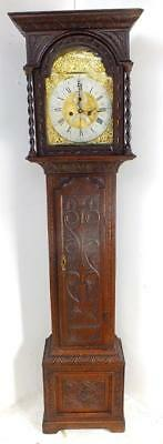 Antique Carved 8 Day Weight Driven Grandfather Longcase Clock By William Barnifh