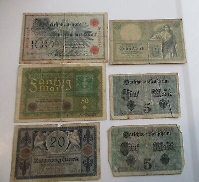 Vintage Lot of 6 1900s Germany Old Banknotes