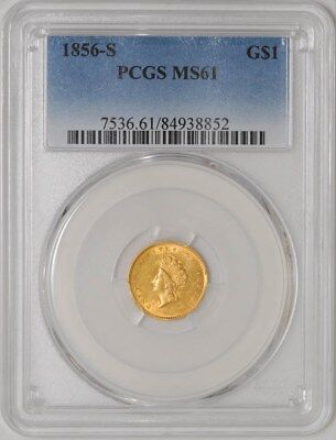 1856-S $ Gold Indian Dollar MS61 PCGS