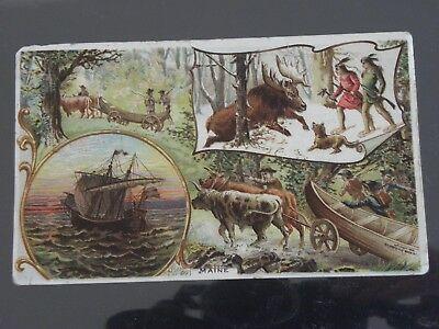 Maine Trade Card-Vintage Arbuckle Coffee-# 9 History Of The U.s. & Territories