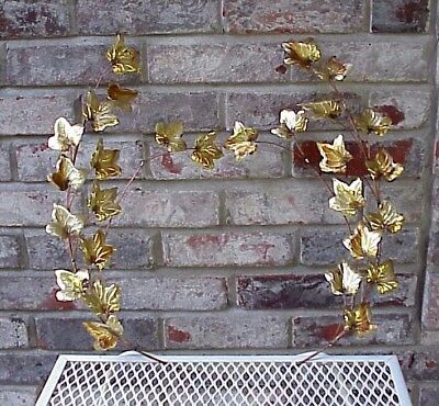 Vintage Home Interiors Gold Leaf Wall Decor Pair (2) Hanging Metal