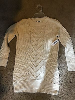 Girls Old Navy Long Sleeve Cream Knit Sweater- Size Large (10-12)- New With Tags