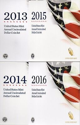 2013, 2014, 2015 & 2016 United States Mint Annual Uncirculated Dollar Coin Sets