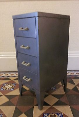 Vintage stripped steel industrial filling cabinet Stor 4 drawer rocket legs