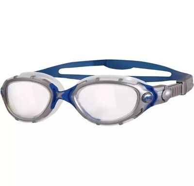 The ORIGINAL Zoggs Predator Flex Silver/ blue Clear lense Swimming Goggles