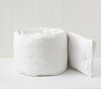 Pottery Barn KIDS BELGIAN FLAX LINEN CRIB BUMPER-WHITE COLOR-NEW OUT OF PACKAGE