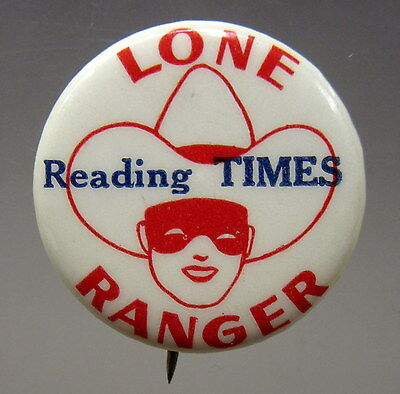 cowboy 30's LONE RANGER READING TIMES Comic Strip pinback button movies Western*