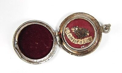 Antique Silver Locket Reliquary St. Theresa Relic Saint Therese Lisiuex Wax Seal