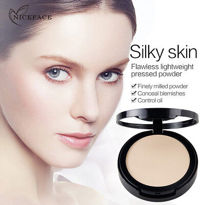 Face Pressed Powder Cosmetic Beauty Compact Contour Foundation Makeup Skin Tools