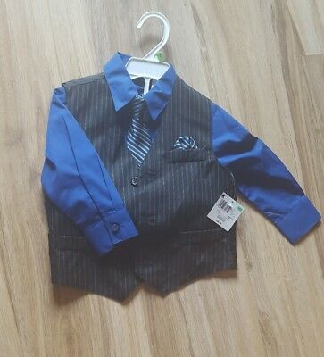 NWT 2t boys dress shirt with vest and tie