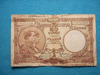1923 20Franc Belgium Paper Money
