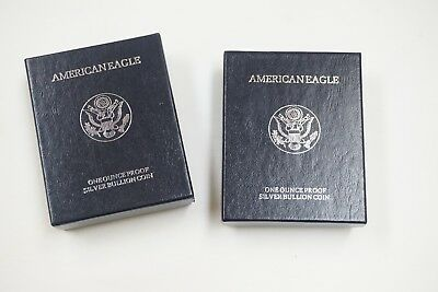 Lot of 2 1996-P Silver American Eagle Proof $1 1oz  With Box and Papers