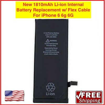 New 1810mAh Li-ion Internal Battery Replacement w/ Flex Cable for iPhone 6 6g 6G